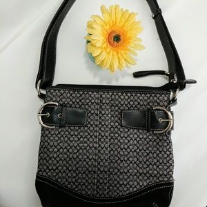 Black Canvas Purse Bag with Shoulder Strap